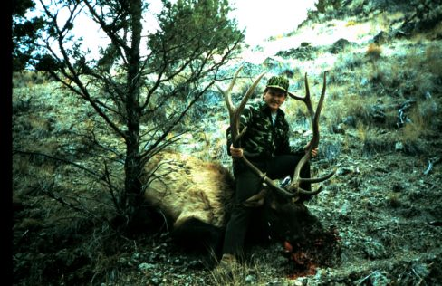 This bull was spotted from a mountain top a very long ways away. Michael Jame of Bend, OR took him out at 100 yards. Michael has always been a believer of getting in fast.
